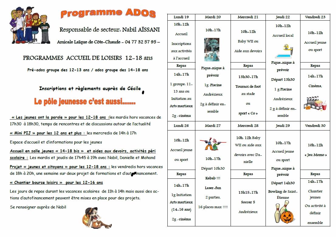 Programme jeunes Automne 2015