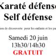 """Samedi 20 juin, nous vous proposons un cours découverte de""""SELF-DEFENSE"""", dispensé par un moniteur diplômé d'état (ceinture noire 3ème dan). Il se déroulera dans la salle d'activités judo-danse…de 13h30 à […]"""