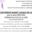 En vue de la préparation de la saison 2015-2016 de basket, l'AL Côte-Chaude recrute : – Des enfants nés en 2005-2006 pour compléter son groupe U11 (Poussins), et principalement des […]
