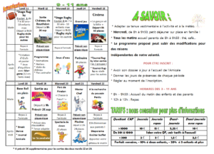 vancances avril 9-11 ans