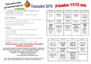 vacances de la Toussaint 2016 11 à 13 ans