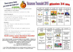 vacances de la Toussaint 2016 3 à 4 ans