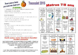 vacances de la Toussaint 2016 7 à 8 ans