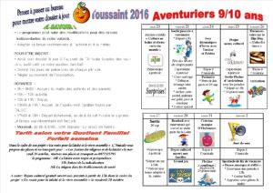 vacances de la Toussaint 2016 9 à 10 ans