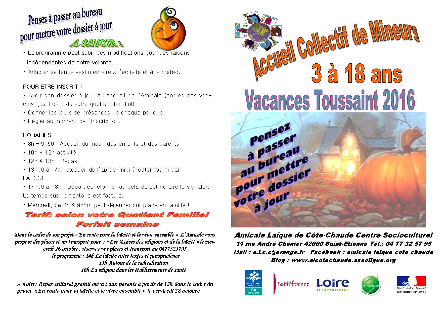 Programme des vacances de la toussaint - Vacances de la toussaint 2016 ...