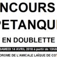 Samedi 14 avril, les basketteurs de l'Amicale Laïque de Côte-Chaude vous convient à leur premier concours de pétanque en doublette. Il se déroulera au boulodrome couvert, rue André Chénier, méthode […]