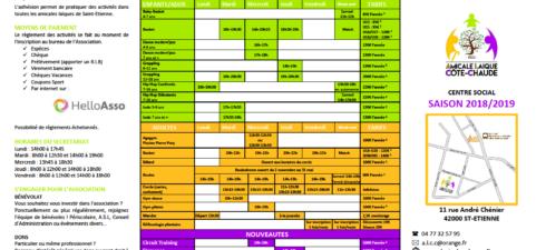 Renouvellement adhésion en ligne :https://www.helloasso.com/associations/amicale-laique-de-cote-chaude/adhesions/adhesion-annuelle-2018-2019 Accueil périscolaire : 3 septembre Basket : semaine du 3 septembre Accès au droit : 3 septembre Lieu d'Accueil Enfants Parents (LAEP) : 4 septembre […]